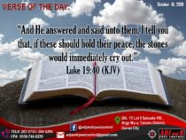 "VERSE OF THE DAY:  ""And He answered and said unto them, I tell you that, if thes…"